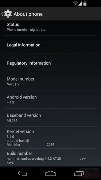 Some of the Android 4.4.3 features leaked