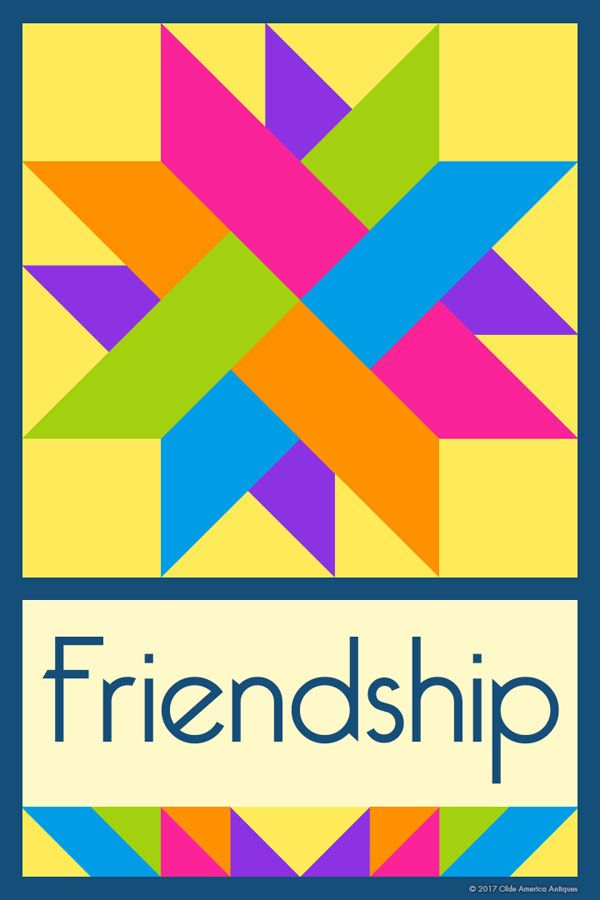 FRIENDSHIP QUILT BLOCK - This quilt block is an original design by Susan Davis. Susan is the owner of Olde America Antiques and American Quilt Blocks. Visit her web sites to see more than 6,000 quilt blocks for sale.