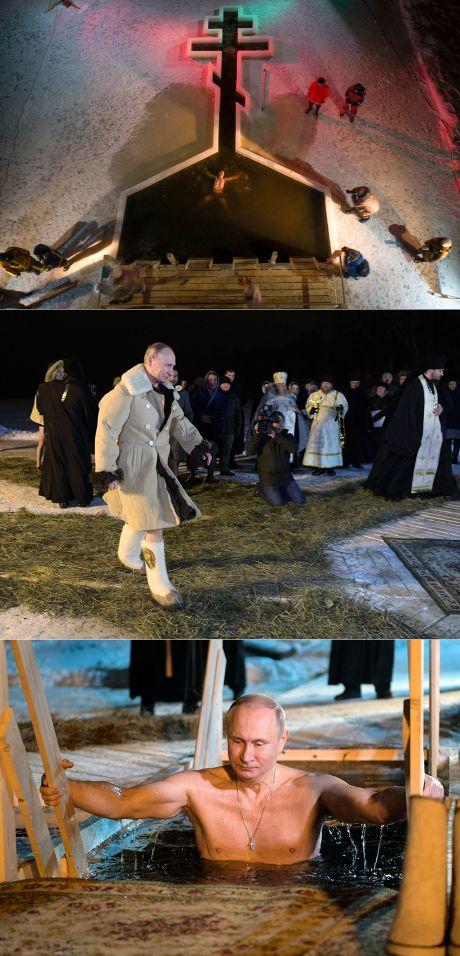 Владимир Путин поучаствовал в крещенских купаниях на Селигере -19.01.2018