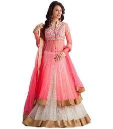 Buy Pink and white embriodered net unstitched lehenga choli lehenga-choli online