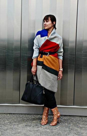 Belting Scarf Trend - colorblock blanket scarf worn over the shoulders and belted at the waist