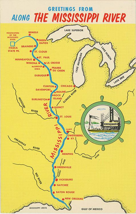 Vintage Chrome State Map Greetings Postcard Showing Towns And Cities Along The Mississippi River From Its