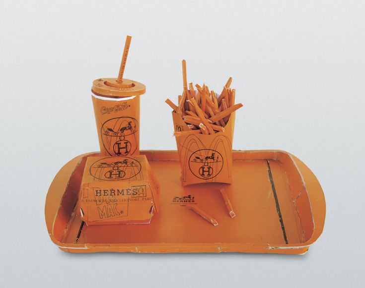 Lets chow down. Hermés Value Meal, Tom Sachs (1997)