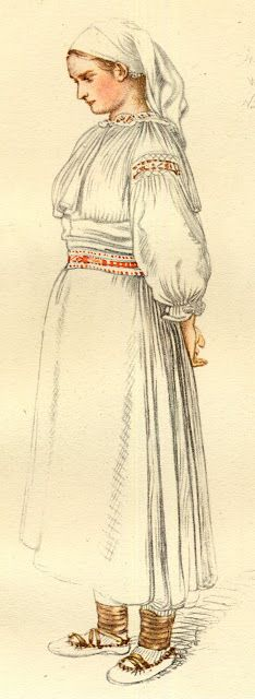 old drawing of the costume of the  village of Valaská Belá, Slovakia
