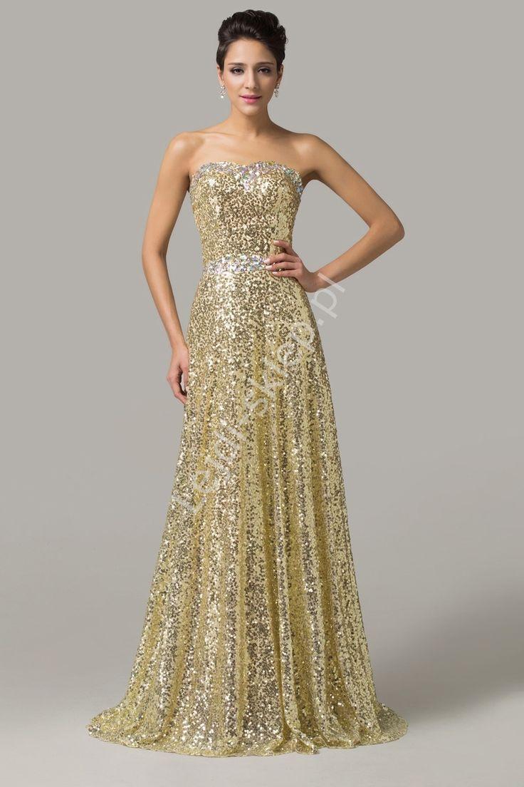 Bardzo efektowna sylwestrowa, karnawałowa, estradowa złota suknia z kryształkami