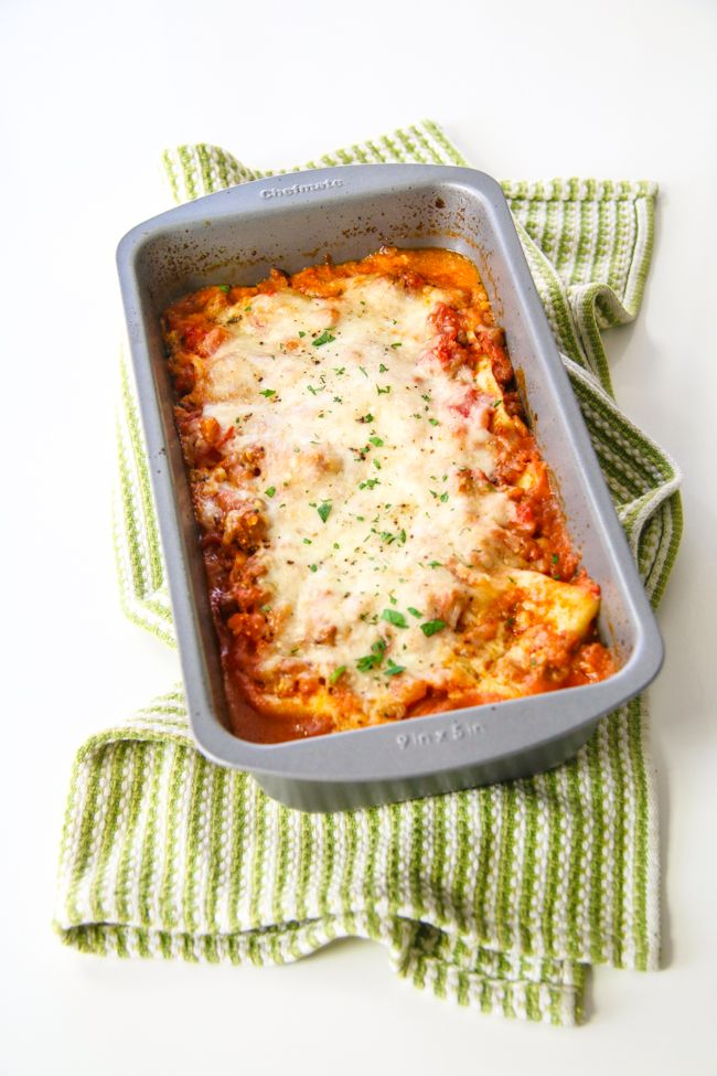 This small and cute lasagna is perfect for two because you won't have leftovers for days. All you need is a loaf pan!