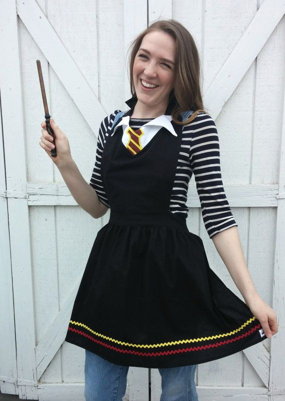 HARRY POTTER Gryffindor house Costume APRON. Fits women sizes 0-12 Cosplay Dress up Birthday Party Photo Shoot. Hogwarts School Halloween.