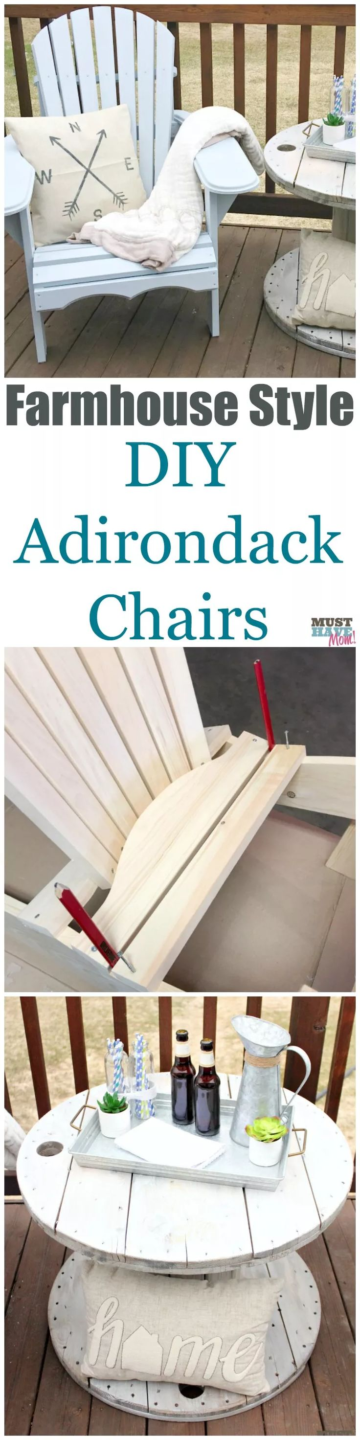 How to DIY farmhouse style adirondack chairs. Build them, paint them and style them! She shows you how. Bring farmhouse decor outdoors! ad