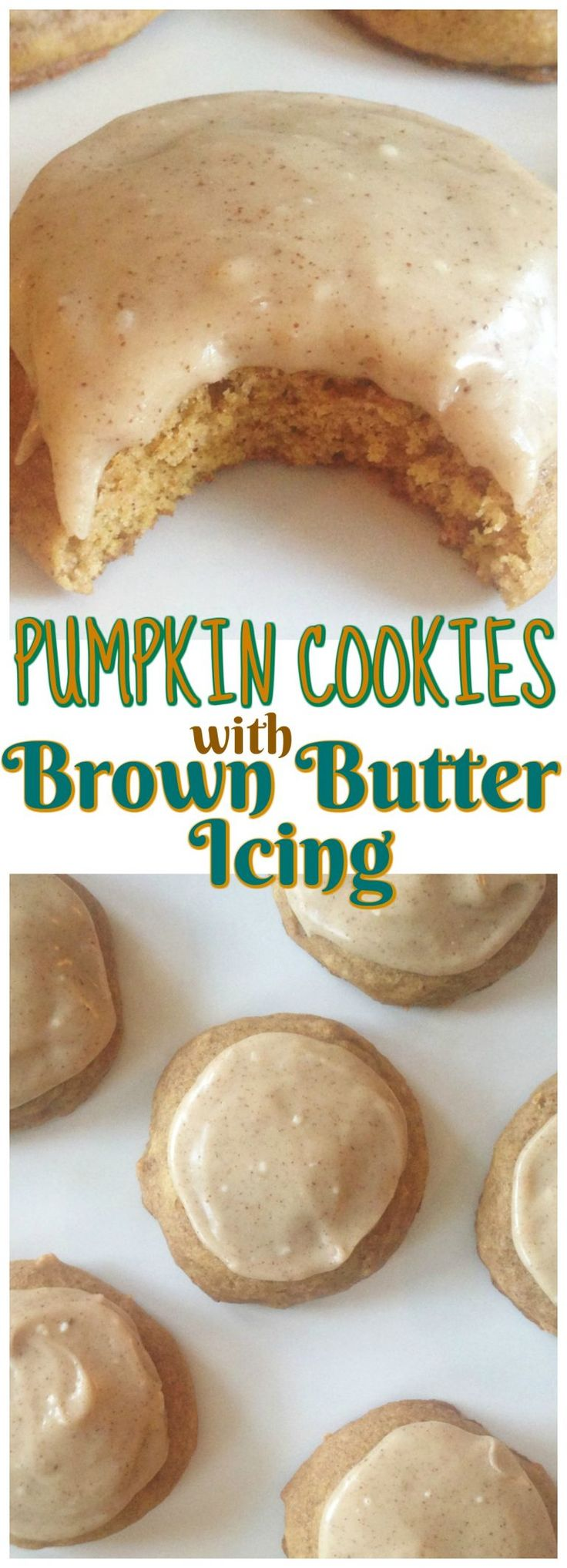 Pumpkin Cookies with Brown Butter Icing recipe image thegoldlininggirl… pin 2