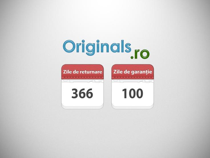 La Originals.ro ai 366 zile de returnare si 100 zile garantie la orice produs achizitionat.