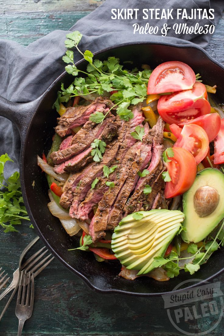 Get this recipe for skirt steak fajitas and make it this weekend. It's packed with flavor and you can make it in one skillet for easy clean-up!