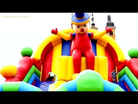 Outdoor Playground GIANT INFLATABLE SLIDE Jungle Fun Park for Kids Balloons Tigers Monkeys Football - YouTube