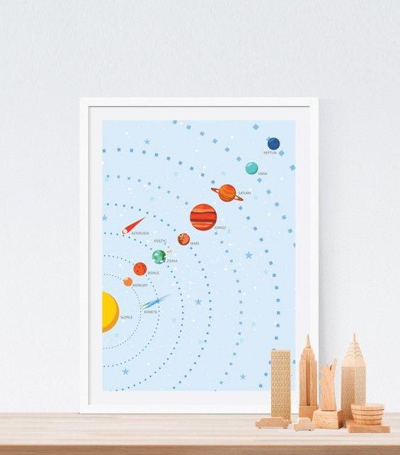 Autorska ilustracja KOSMOS - Printlove - grafiki do wnętrz, ilustracje dla dzieci, plakaty. -