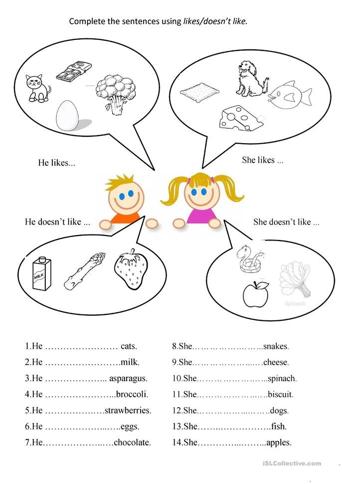 Likes Doesn T Like English Activities For Kids English For Beginners English Activities