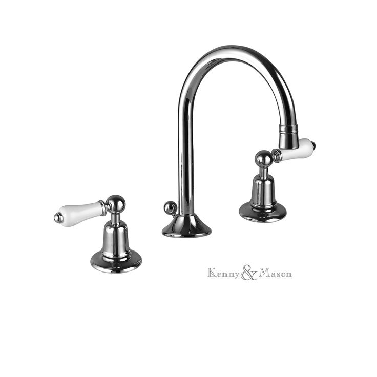 Kenny&Mason Discovery 3 hole basin mixer with swan nech spout and black levers. This product is available in chrome, nickel, brushed nickel, gold, polished brass and old brass finish. Artn°: NGT1006WL
