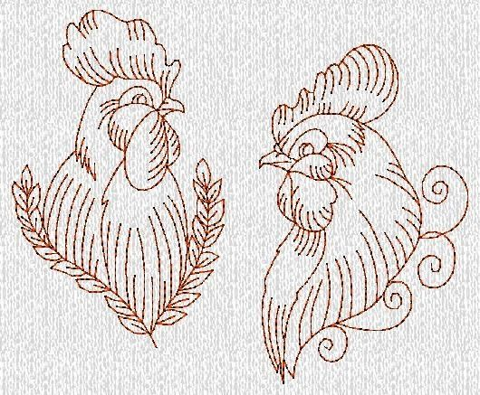 INSTANT DOWNLOAD Hen And Rooster Redwork Machine by embroiderygirl