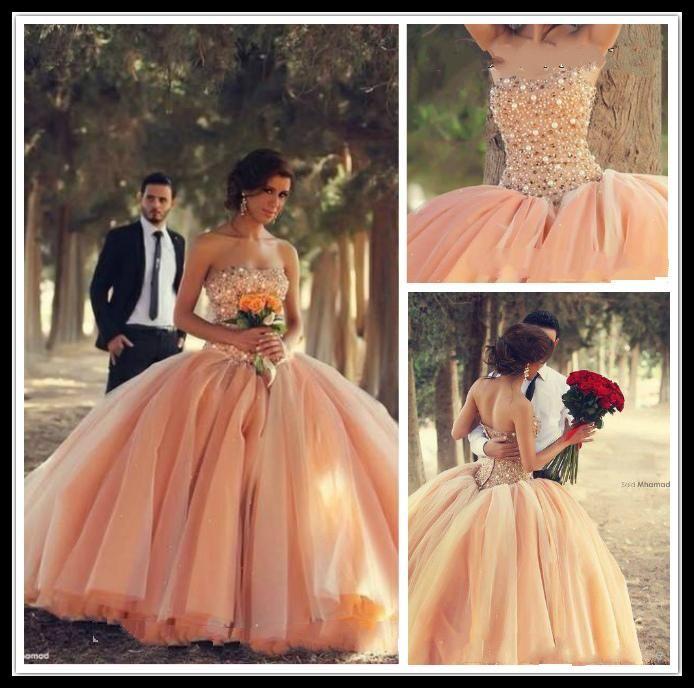 Новый Сексуальный Персик Без Бретелек Бальное Платье Из Органзы Свадебные Платья Из Бисера Кристаллы