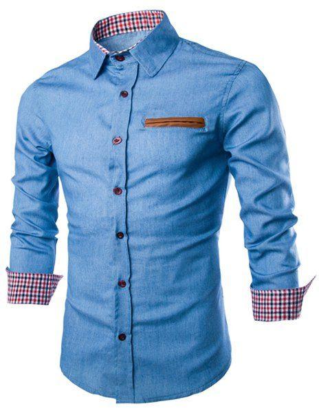 Color Block PU Leather Pocket Hemming Slimming Shirt Collar Long Sleeve Fashion Denim Shirt For Men
