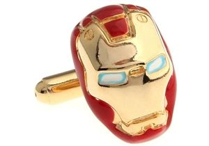 Inran man superhero cufflinks. The cufflinks are crafted from gold plated copper with eyes that appear to glow and finished with red colors.