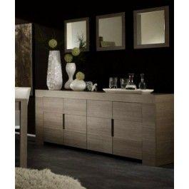 Madia 4 ante moderna L 210 cm maniglie a incasso rovere grigio o laccato lucido - Art 1462 #arredamento #madia #rovere #design #casa