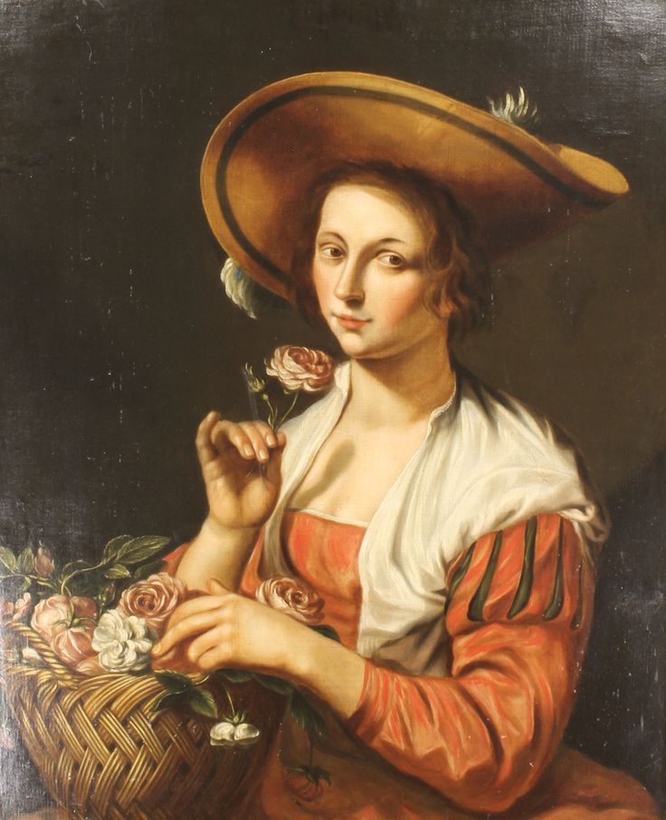"""Lot 522, After Abraham Bloemert 1630, oil on canvas, a study of a young lady wearing a bonnet and red dress with a basket of roses, signed, dated and inscribed, re-lined 33"""" x 27"""", sold for £1450"""