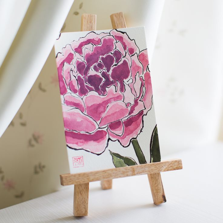 Peony, Flowers, Sumi-e, Ink Painting, Chinese Ink Painting, Postcard, Etegami, Handmade Postcard, Hand Drawn Postcard, Watercolor, Gansai Color