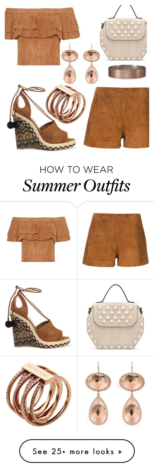 """Suede Outfit Summer To Fall"" by deborah-calton on Polyvore featuring rag & bone, Abercrombie & Fitch, Aquazzura, Larkspur & Hawk and Michael Kors"