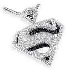 14K Gold Diamond Superman Pendant Charm 4.50ct