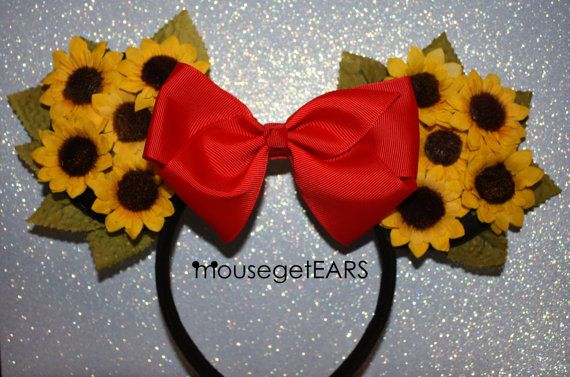Sunflower Yellow Mickey Ears Red Bow Headband by MouseGetEars