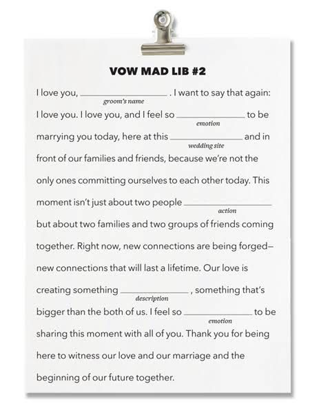 FillintheBlank Wedding Vows  Write Your Own Wedding Vows  Sammys Wedding Ideas  Wedding
