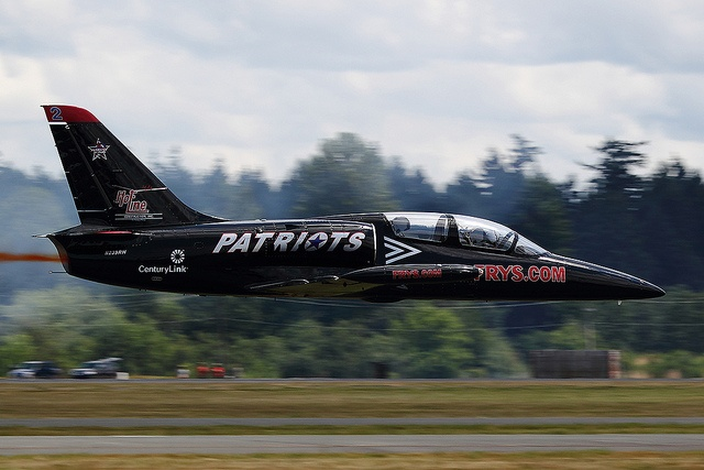 N239RH Patriots Jet Team L-39. Stache taking it low to the ground at Joint Base Lewis McChord Air  Expo! I love the low pass!
