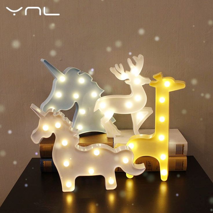 Unicorn LED night light flamingo penguin children night light lights giraffe deer Christmas cartoon animal table lamp #Affiliate