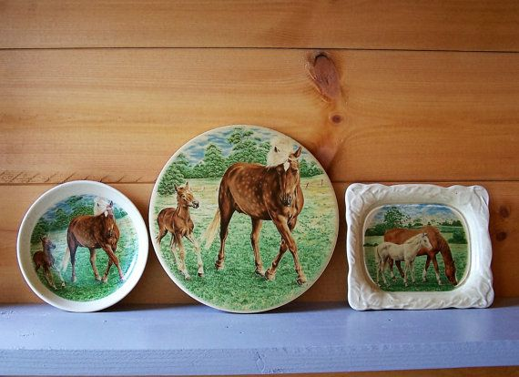 H R Johnson Mares and Foals Trio Trivet Soapdish by IngliVintage