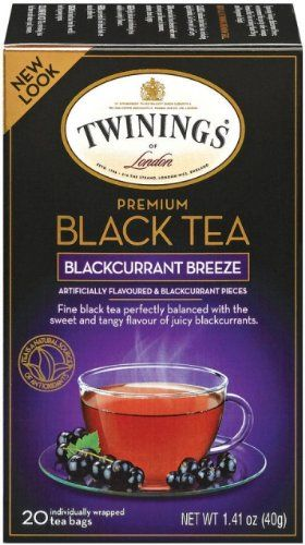 Twinings Tea Blackcurrant 20-Count Boxes (Pack of 6) is a fine black tea perfectly balanced with the sweet and tangy flavor of juicy blackcurrants.