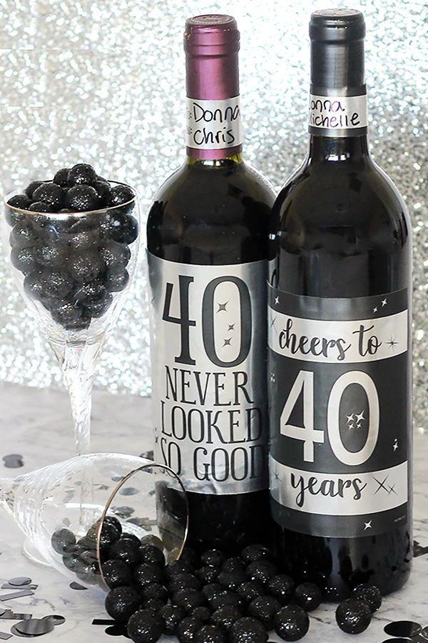 Black And Silver 40th Birthday Metallic Foil Wine Bottle Labels Use These To Make Party Decorations