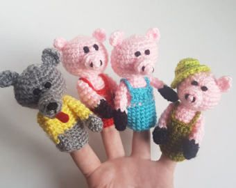 Wolf finger puppet | Etsy