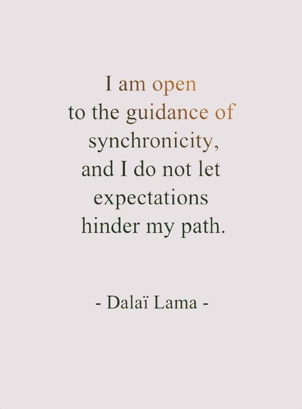 Synchronicity, the Dalai Lama. Keep high standards and ensure openness to synchronicity too..