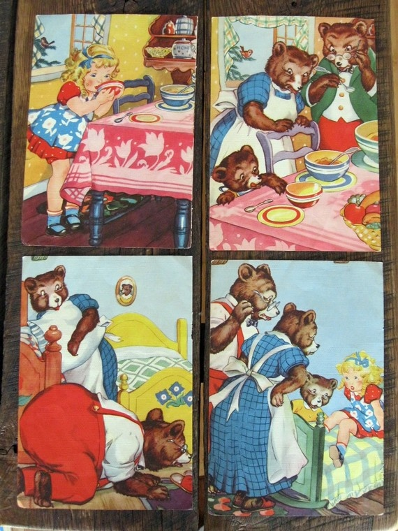 vintage Goldilocks and Three Bears illustrations