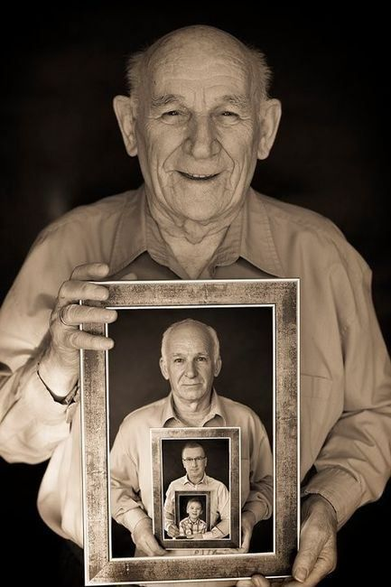 Huh! i have a start on this for my kids! Lifetime picture - Interesting photo of old man holding a picture of himself when he was younger holding a picture of himself even younger holding a picture of himself as a kid.