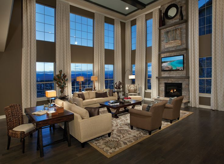 Lighter wall color 99curtains great room toll brothers for 2 story family room window treatments