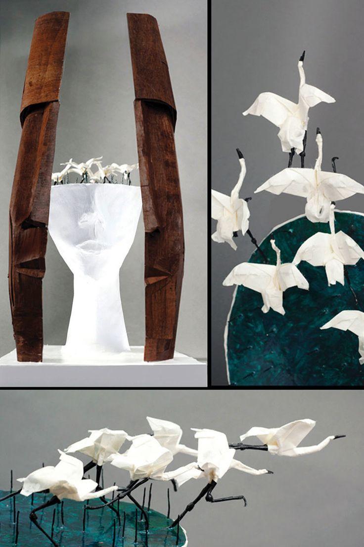 декоративная скульптура, необычные скульптуры, японское искусство оригами, применение искусства бумажной пластики оригами, бумажные скульптуры фото