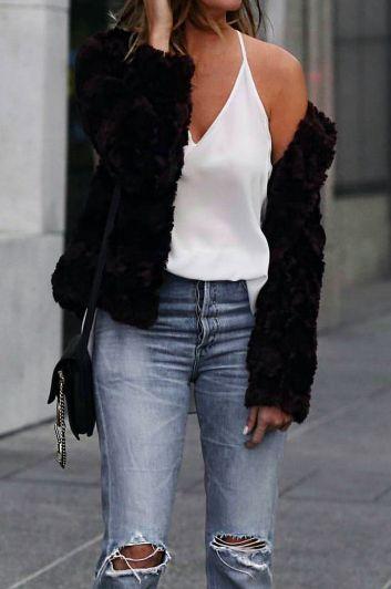 black sweater + white silk cami + denim