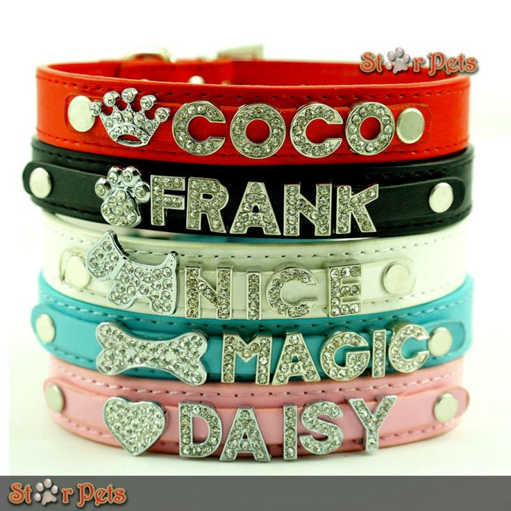 5 Colors Personalized Dog Pet Puppy Collars Rhinestone Name Charms Colorful XS S M L-in Dog Collars & Leads from Home & Garden on Aliexpress...