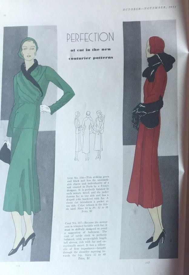 Vogue Couturier Pattern 116 And 117 In Vogue Pattern Book Autumn