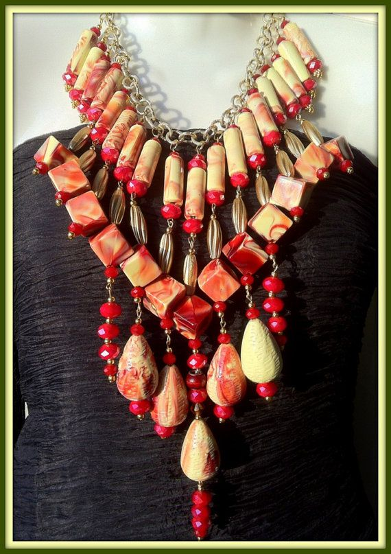 Red Crystal Italian Marble Yellow Statement by BellaEmyJewels