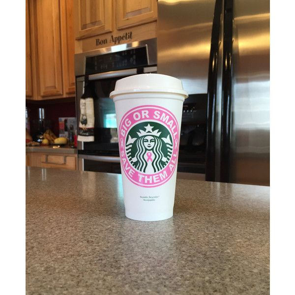 Big or Small Save Them All Breast Cancer Awareness to-Go Coffee Travel... ($9.95) ❤ liked on Polyvore featuring home, kitchen & dining, drinkware, starbucks, black, drink & barware, home & living, mugs, personalized coffee travel mugs and coffee mugs