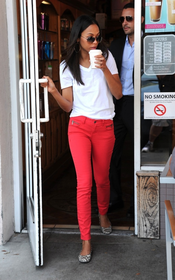 Celebrity pink colored skinny jeans