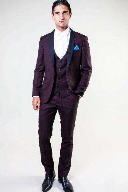 SAM - Wine Diamond Print Tux Lapel Three Piece Suit