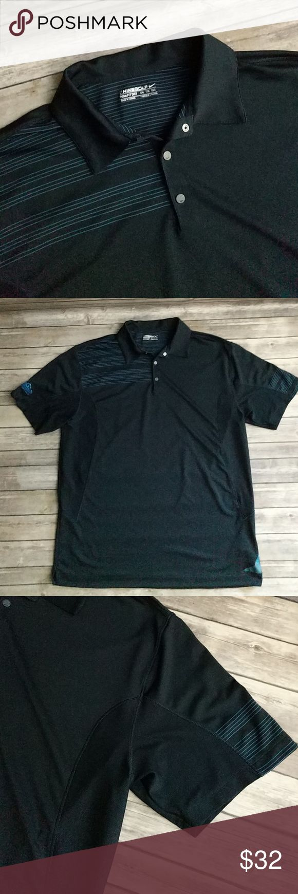 "Nike Golf Polo Shirt Dark navy blue Polo shirt in excellent used condition. Has Gold Mountain logo on right sleeve and mesh panels for staying cool. Chest 25 1/2"" laying flat. Length 33"". Nike Shirts Polos"