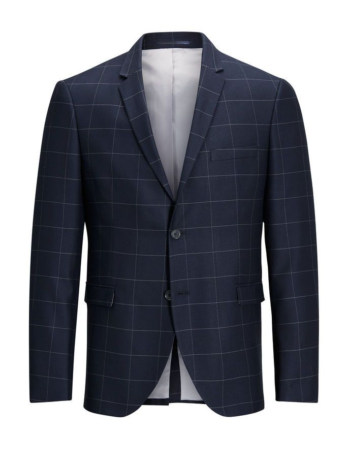 Window checked Blazer in dark navy blue, in stretch fabric for added movement and comfort, fully lined with two inner pockets. pair this with checked trousers and a smart white shirt with mao collar for a smart casual look for the office   JACK & JONES